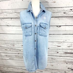 Vintage Denim Sleeveless Button Up Top